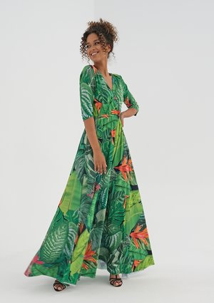 Maxi dress with a wrap neckline Green Leaves