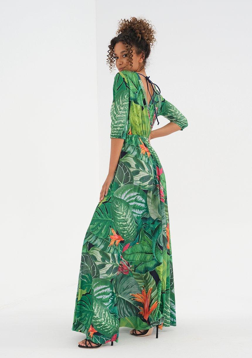 Sukienka maxi z wiązaniem Green Leaves