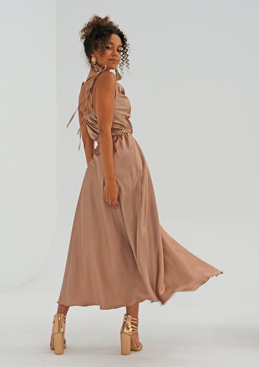 Sukienka midi z satyny Beżowa