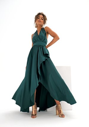 Asymmetric maxi green satin dress