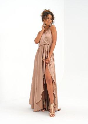 Asymmetric maxi beige satin dress