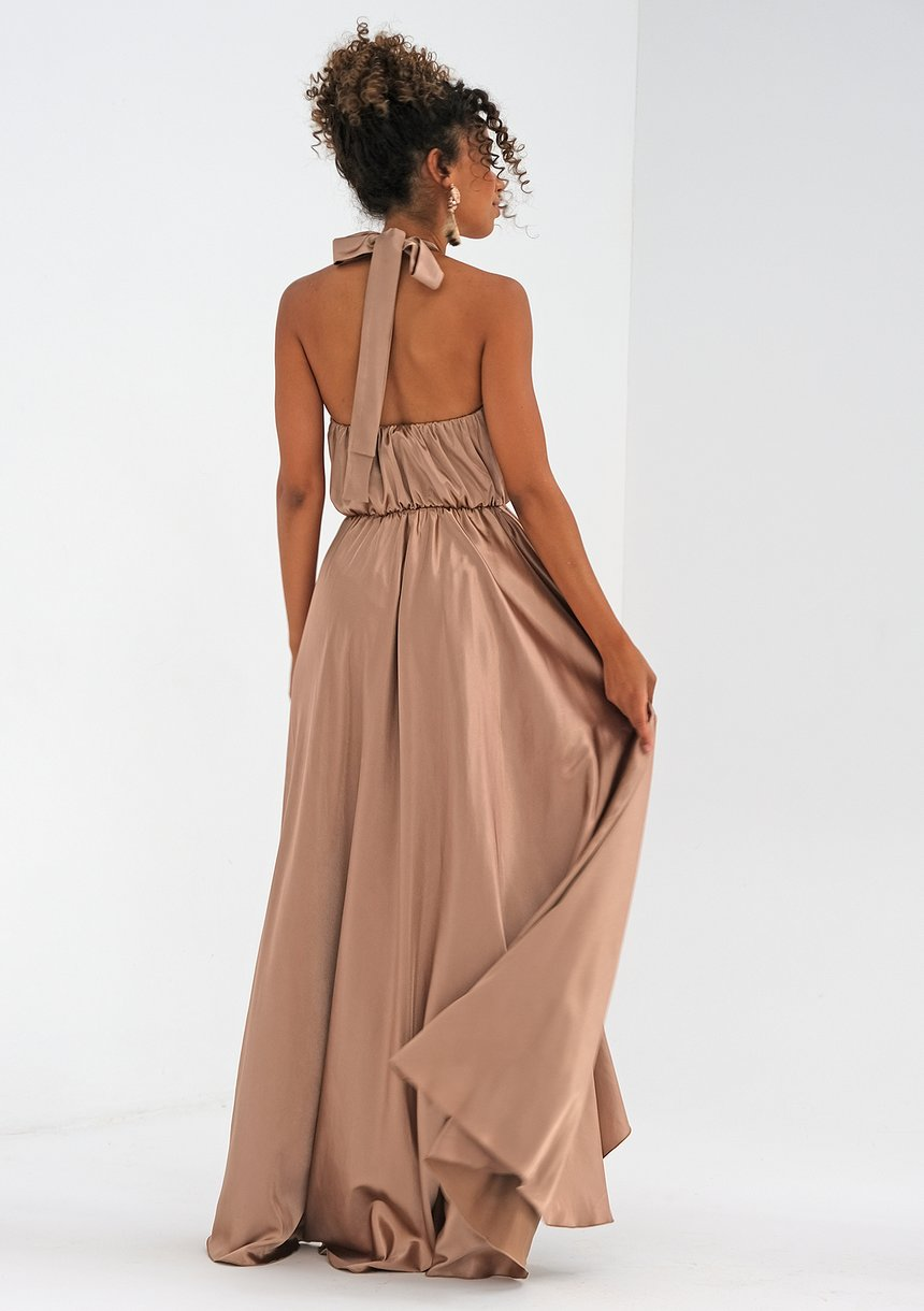 Asymetryczna sukienka maxi z satyny Beżowa