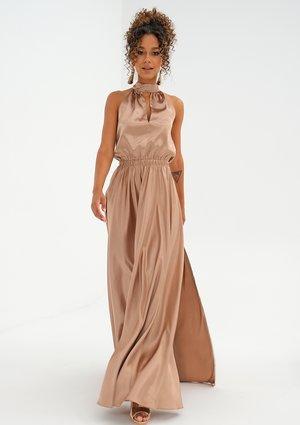 Maxi beige satin dress with a halter neckline