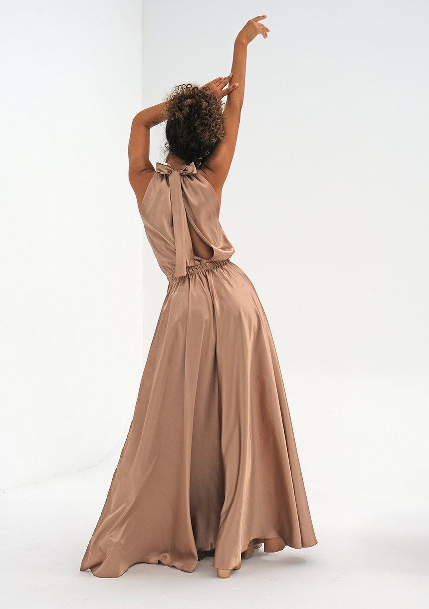 Sukienka z satyny z wiązaniem na szyi Beżowa