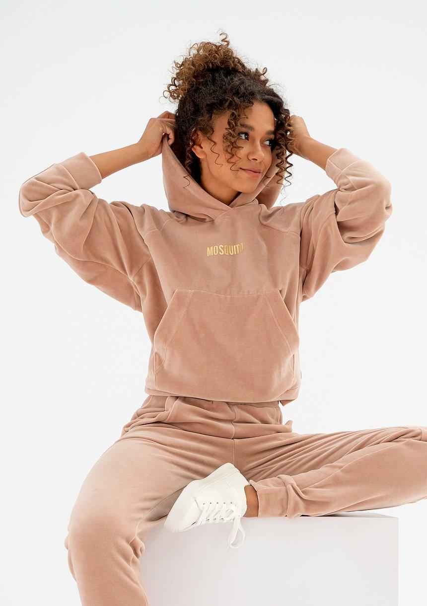 Welurowa bluza z kapturem beżowa ILM