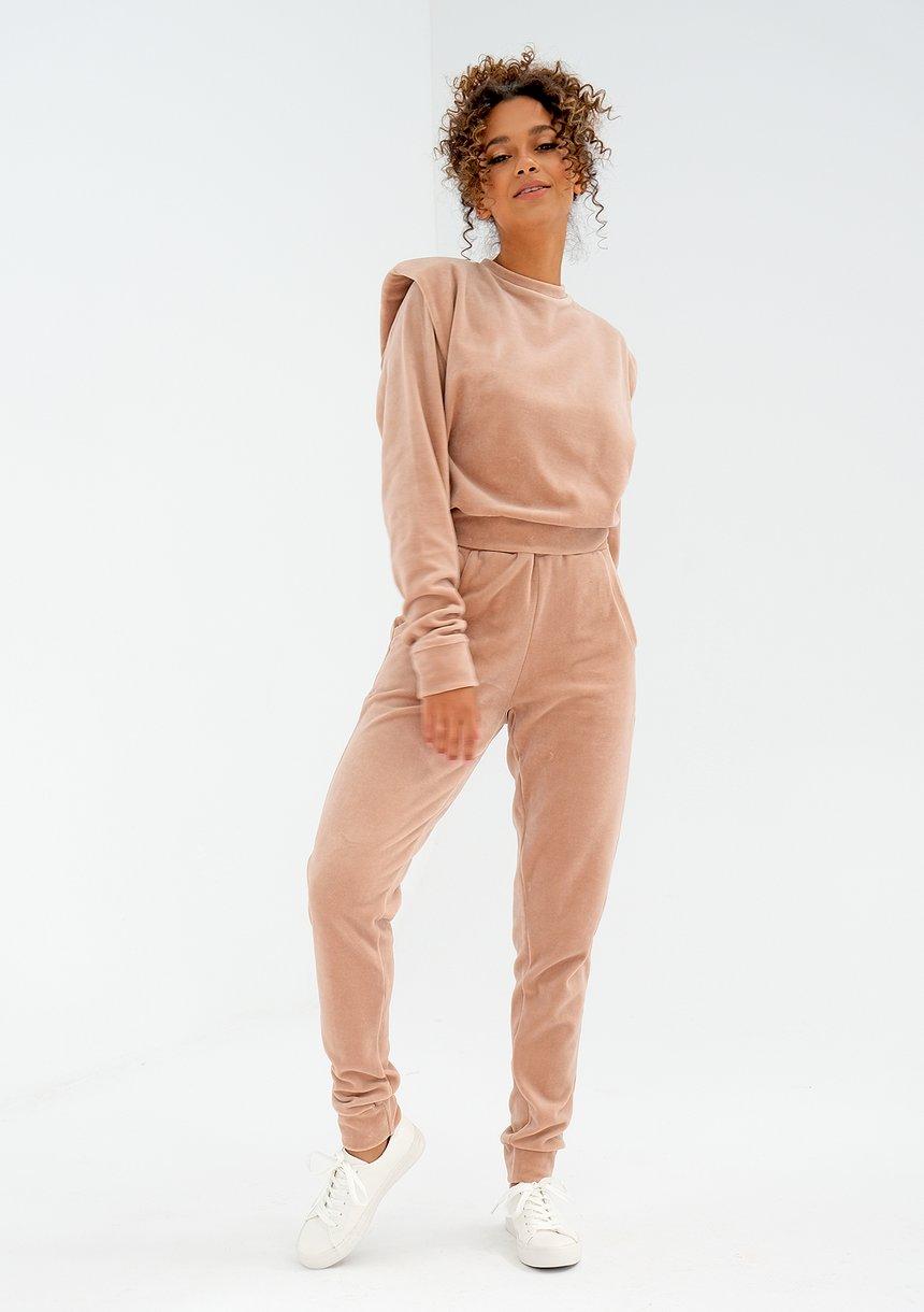 Welurowe spodnie w kolorze beżowym ILM