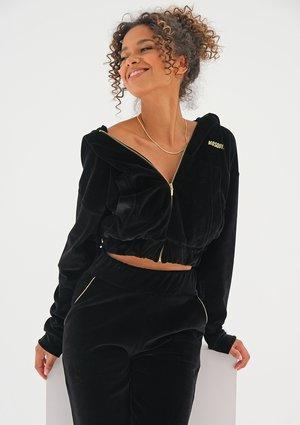 Black velvet sweatshirt with a zipper closure