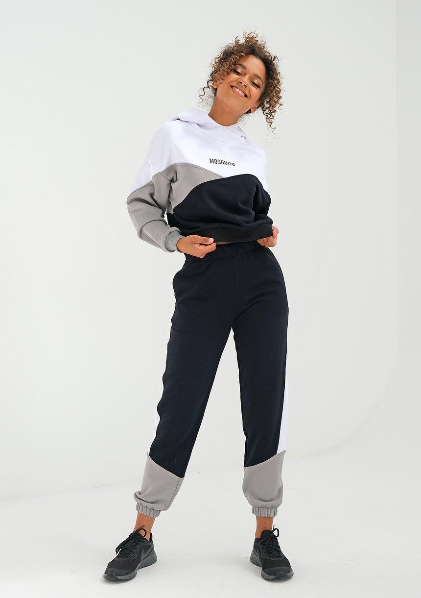 Spodnie z łączonych kolorów Szare