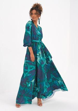 Kopertowa sukienka maxi Teal Waves