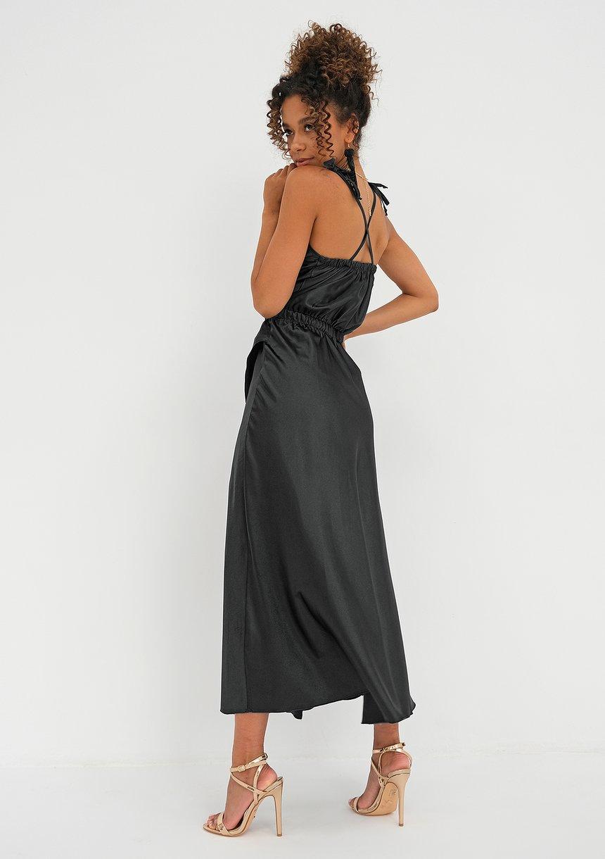 Sukienka midi z satyny Czarna