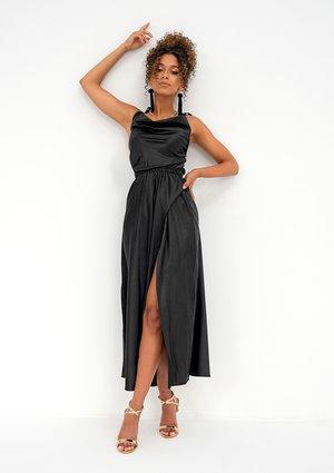 Midi satin black dress