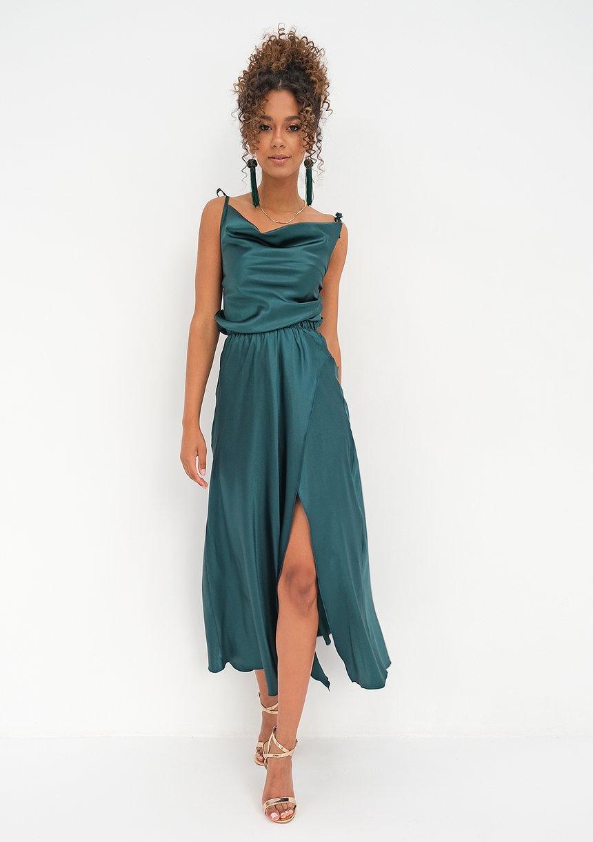 Midi satin green dress