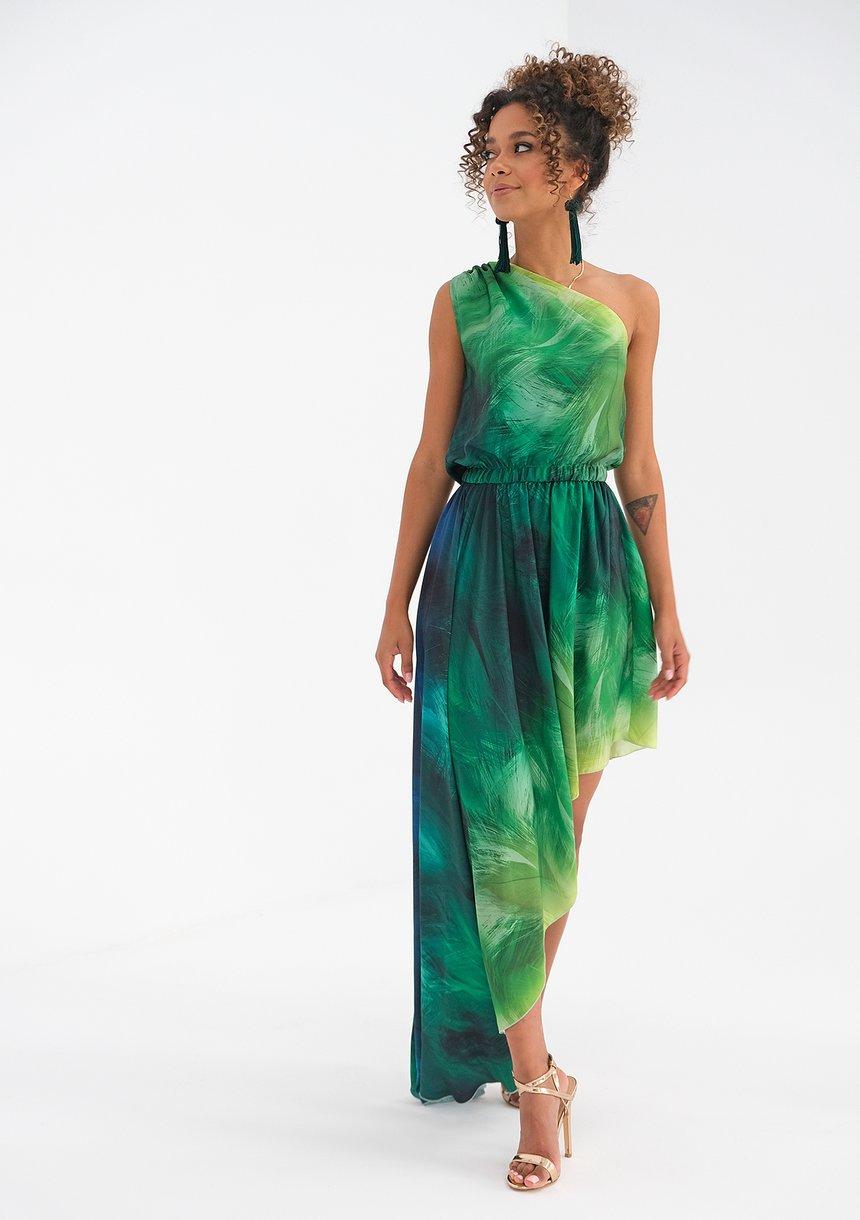 Asymetryczna sukienka maxi Ombre Green