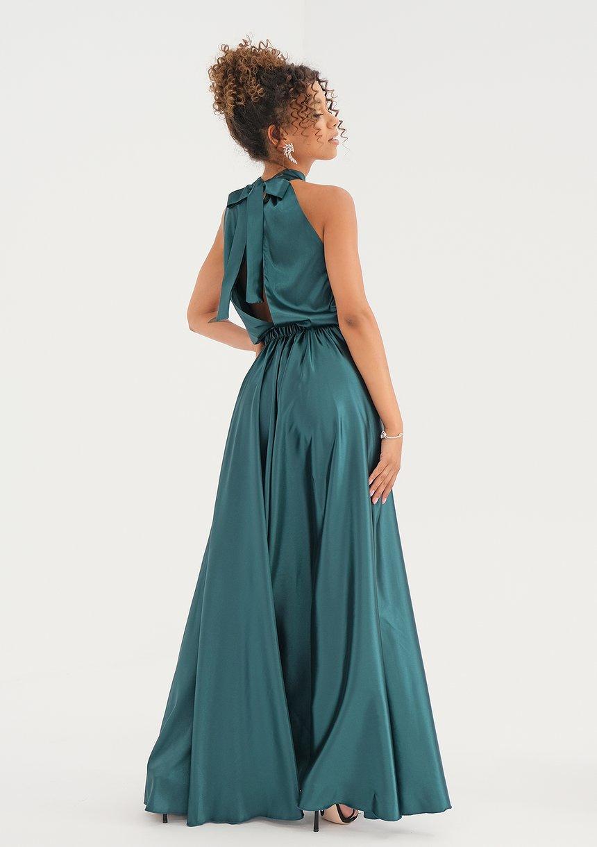 Sukienka z satyny z wiązaniem na szyi Zielona