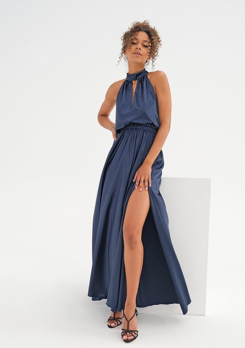 Sukienka z satyny z wiązaniem na szyi Granatowa