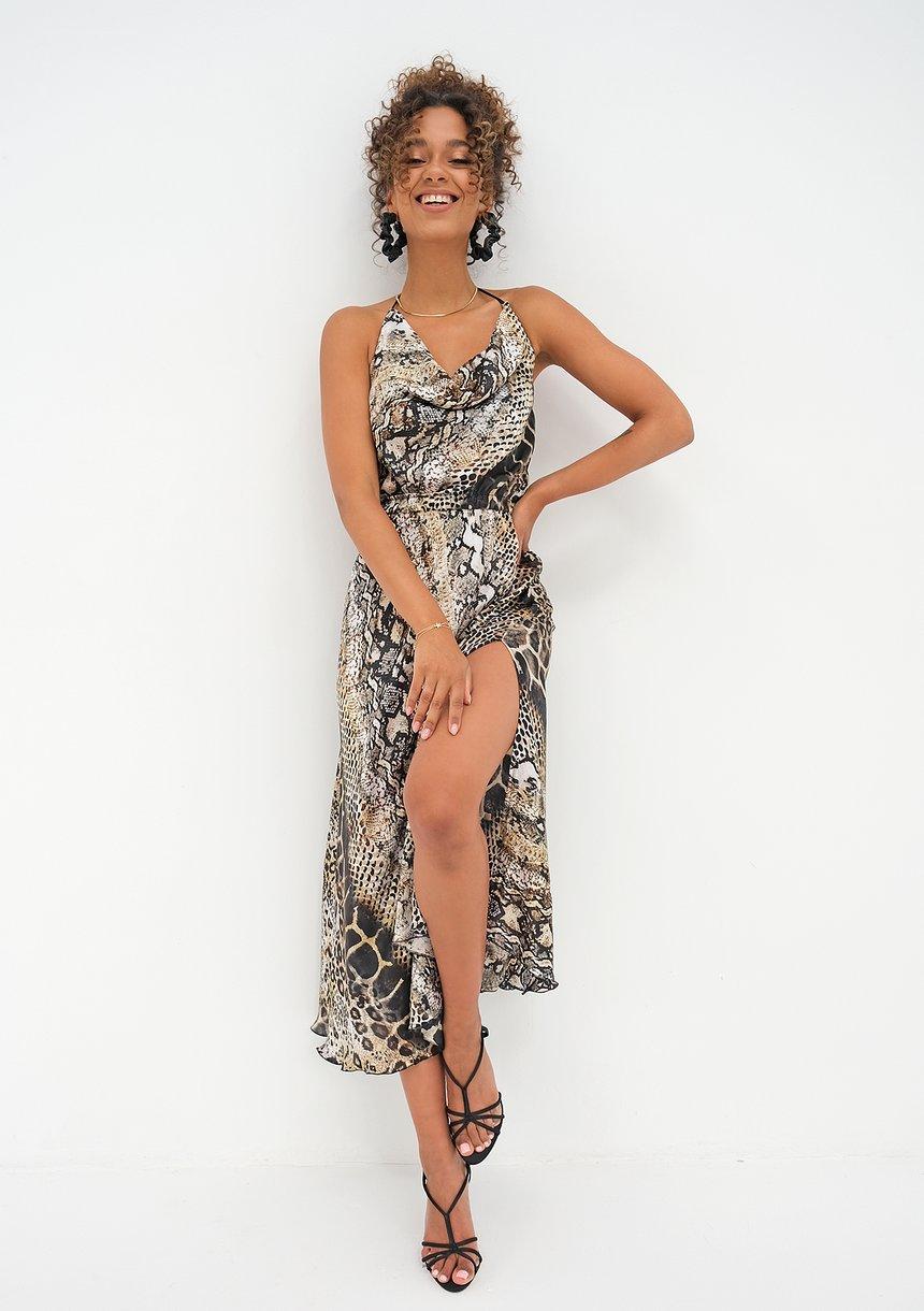 Sukienka midi z wężowym wzorem