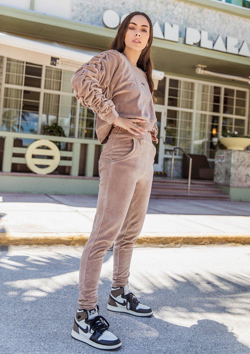 Sweatshirt with raglan crinkly sleeves Coffee Latte
