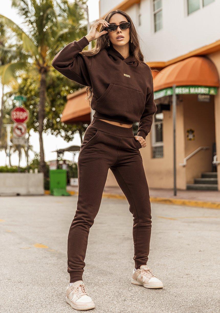 Hoodie with a pocket Dark Brown