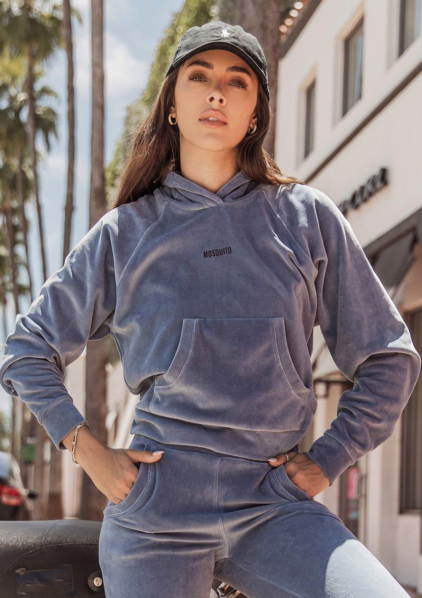 Bluza welurowa z raglanowym rękawem i kapturem Jeans Blue ILM