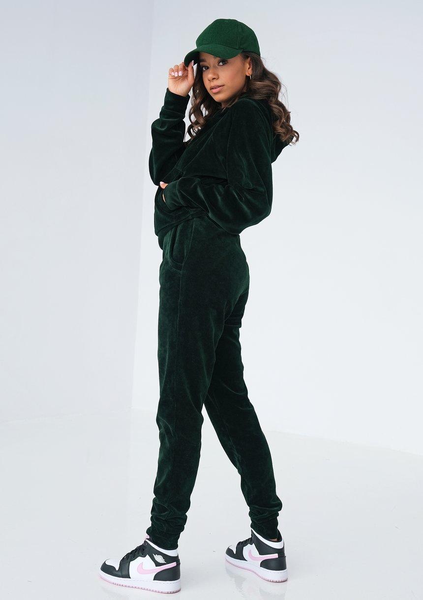 Welurowe spodnie w kolorze zielonym ILM