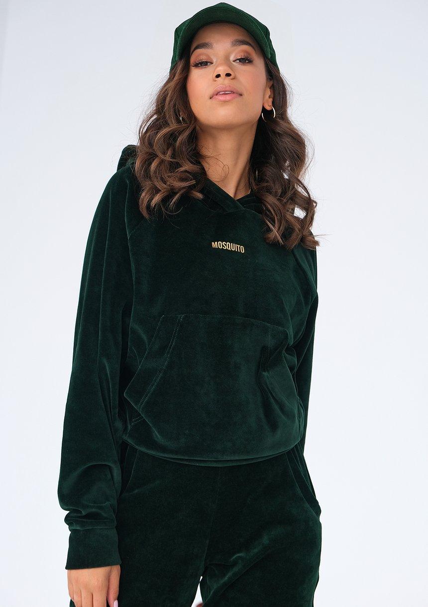 Welurowa bluza z kapturem zielona ILM