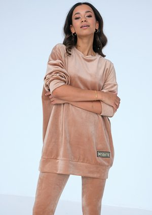 Długa bluza velvet Beżowa ILM