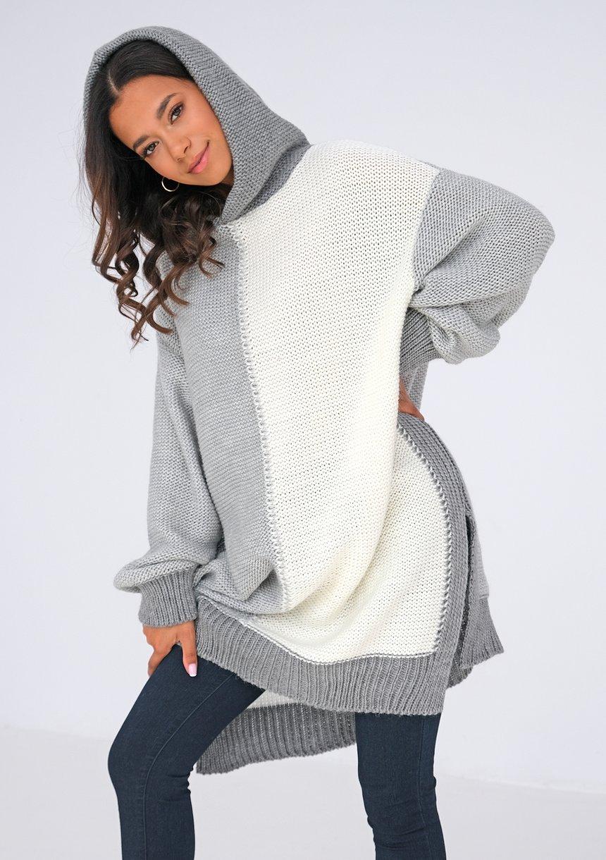Sweter oversize z kapturem Szary ILM