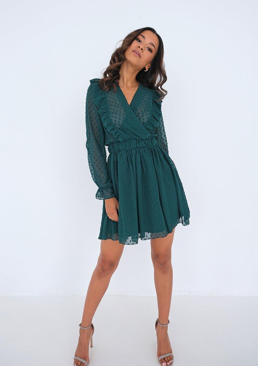 Mini green chiffon dress