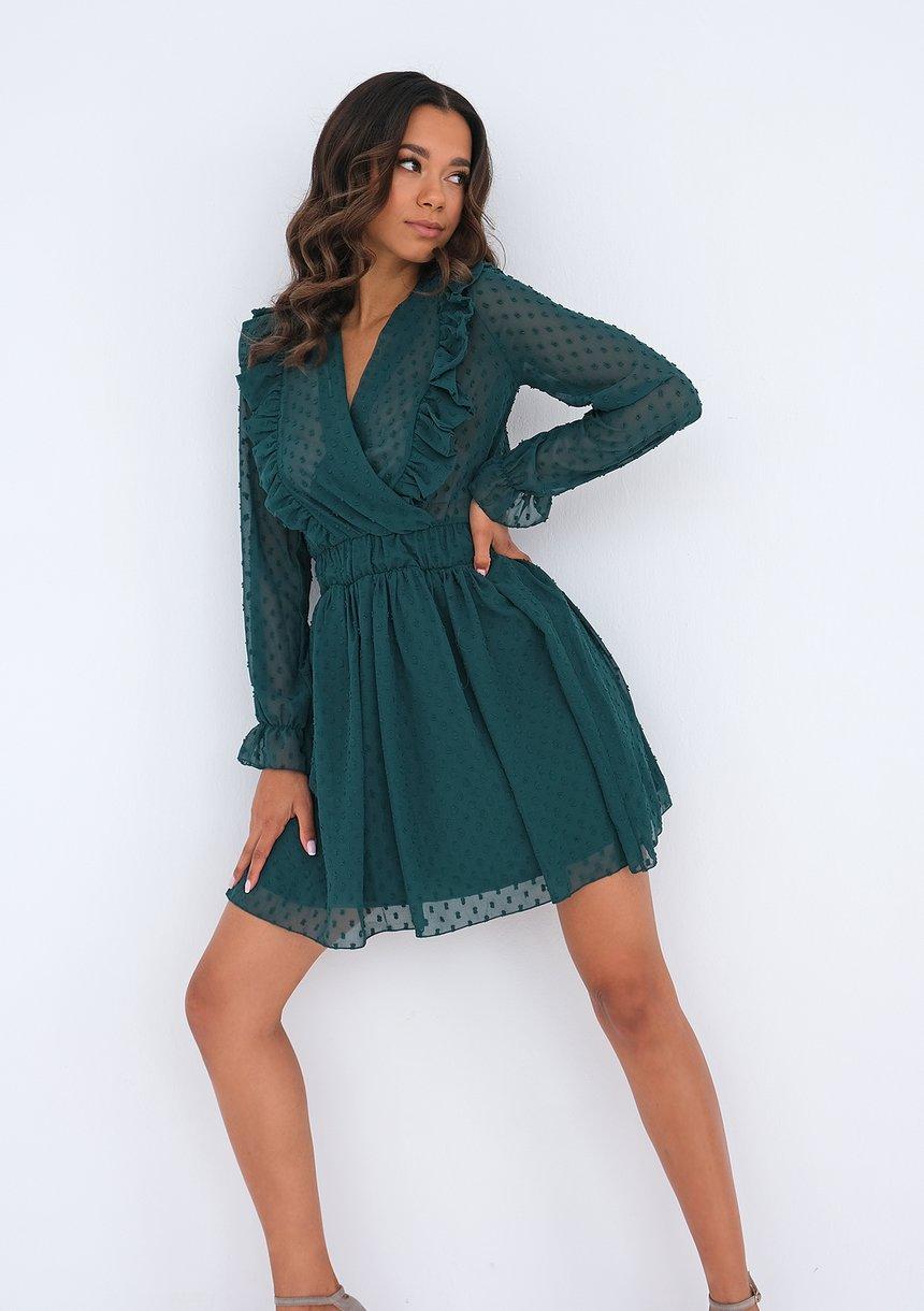 Sukienka mini z szyfonu Zielona