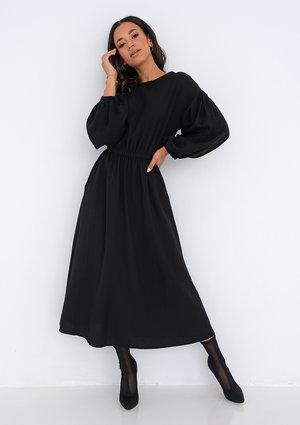 Midi black dress with pockets