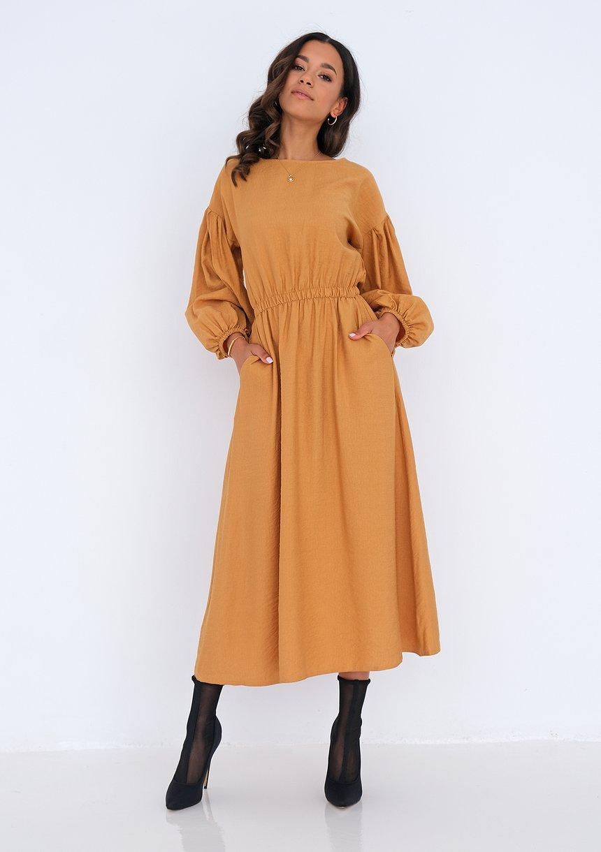 Sukienka midi z kieszeniami Musztardowa