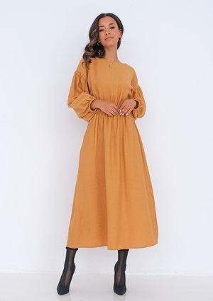 Midi mustard yellow dress with pockets