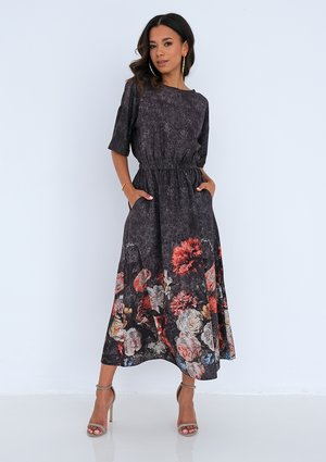 Midi charcoal grey dress with a floral border