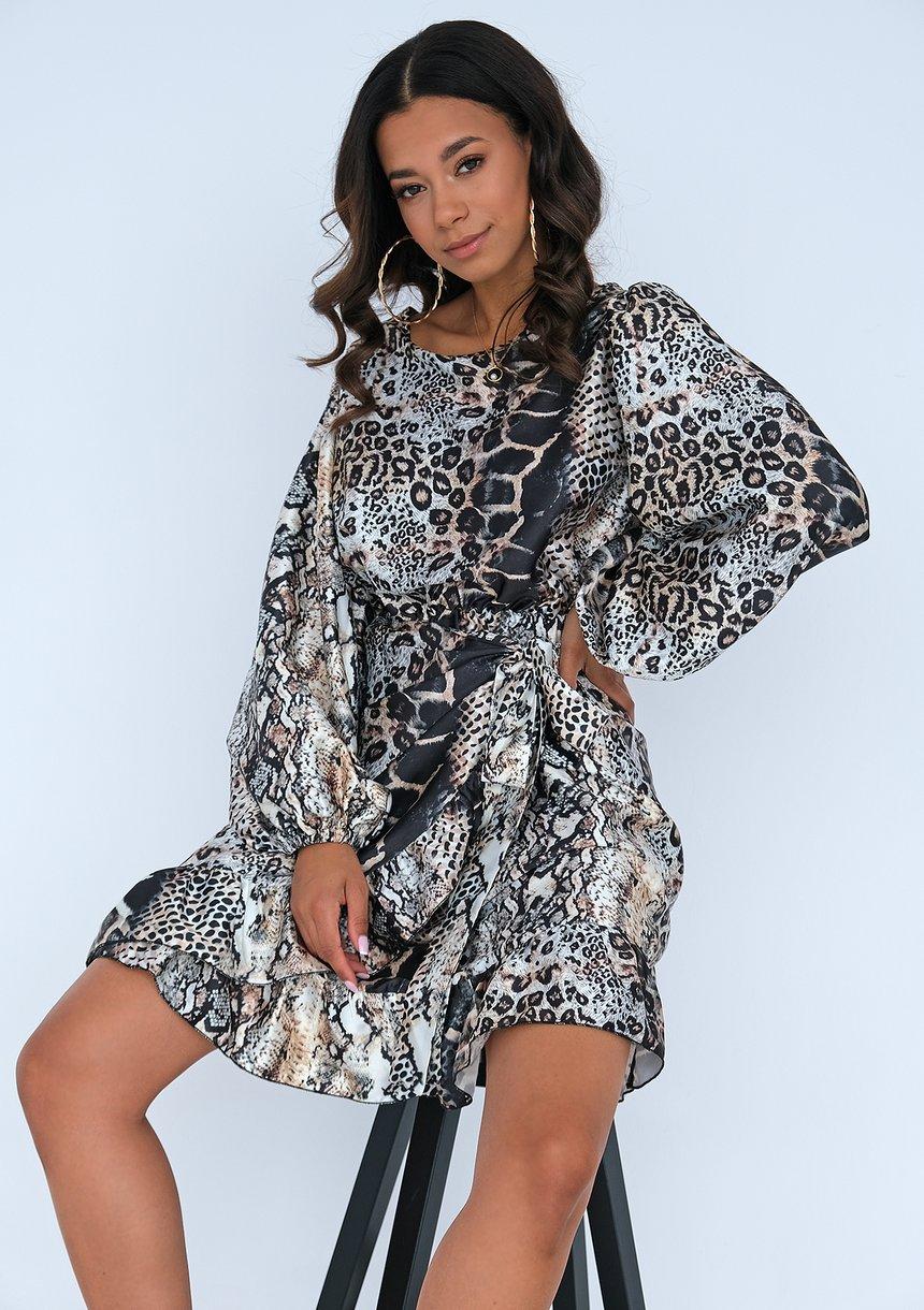 Sukienka z wiązaniem w zwierzęcy print
