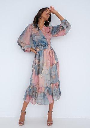 Midi chiffon dress Pink Marble