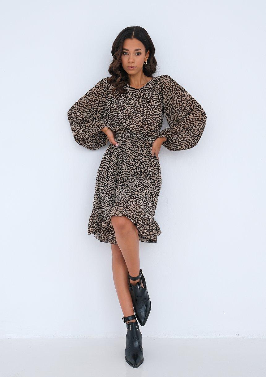 Zwiewna sukienka z falbanką Leopard