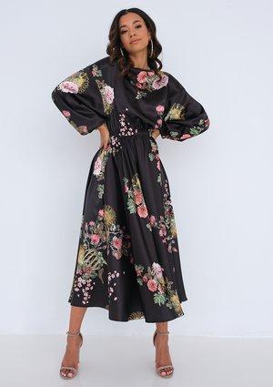 Midi black satin dress Floral