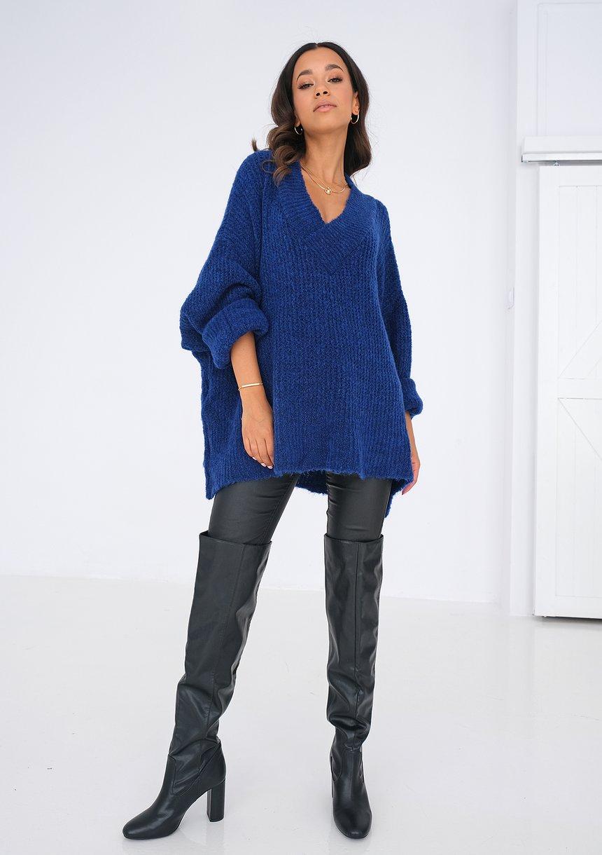 Sweter z dekoltem V oversize KOBALTOWY ILM