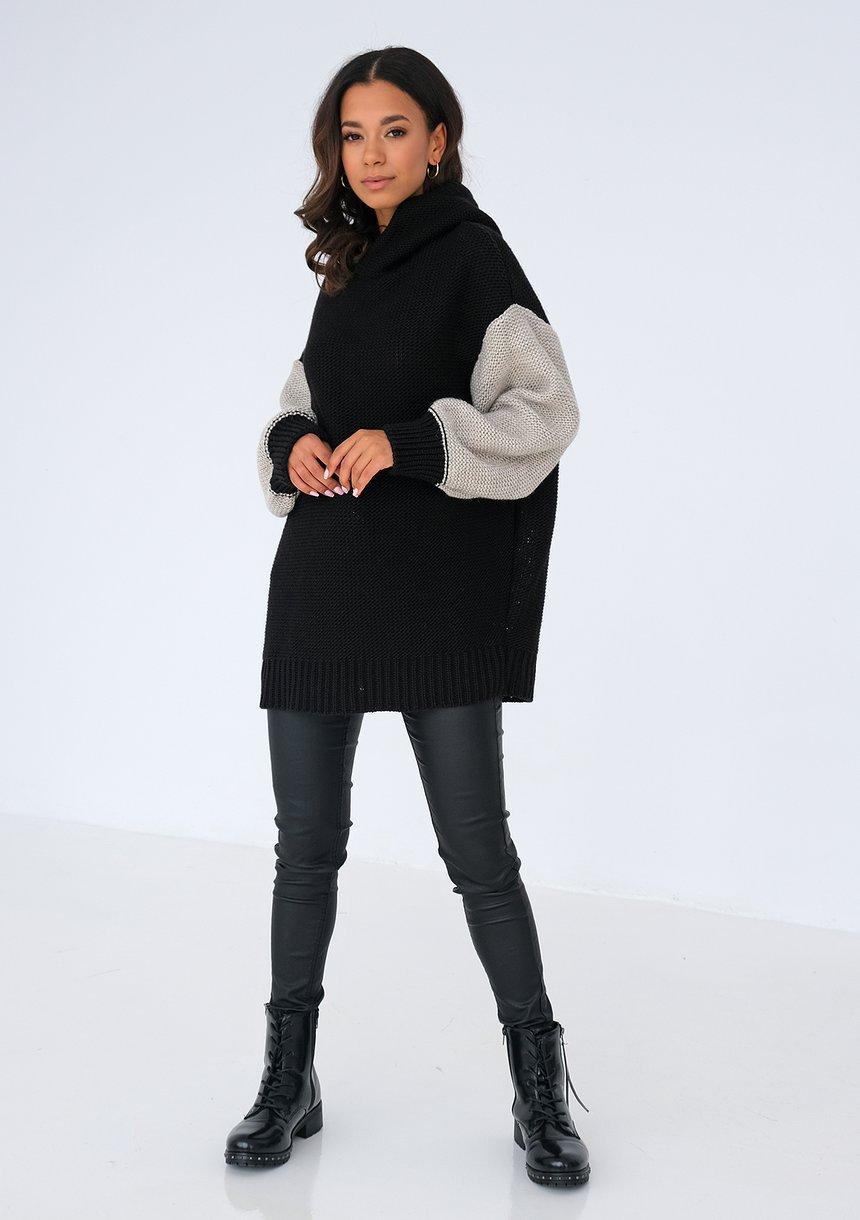 Sweter z kapturem z łączonych kolorów Czarny ILM