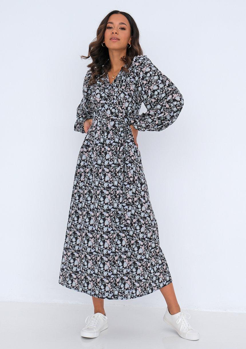 Kopertowa sukienka midi Mint Flowers