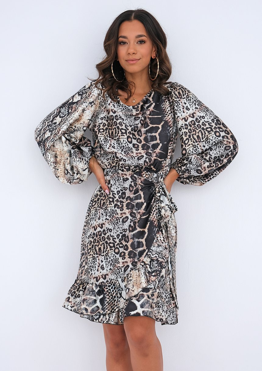 Ruffled dress with an animal pattern