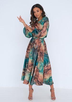 Satynowa sukienka midi Green Marble