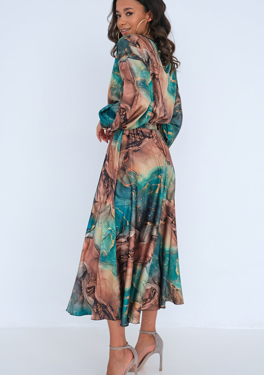 Midi satin dress Green Marble