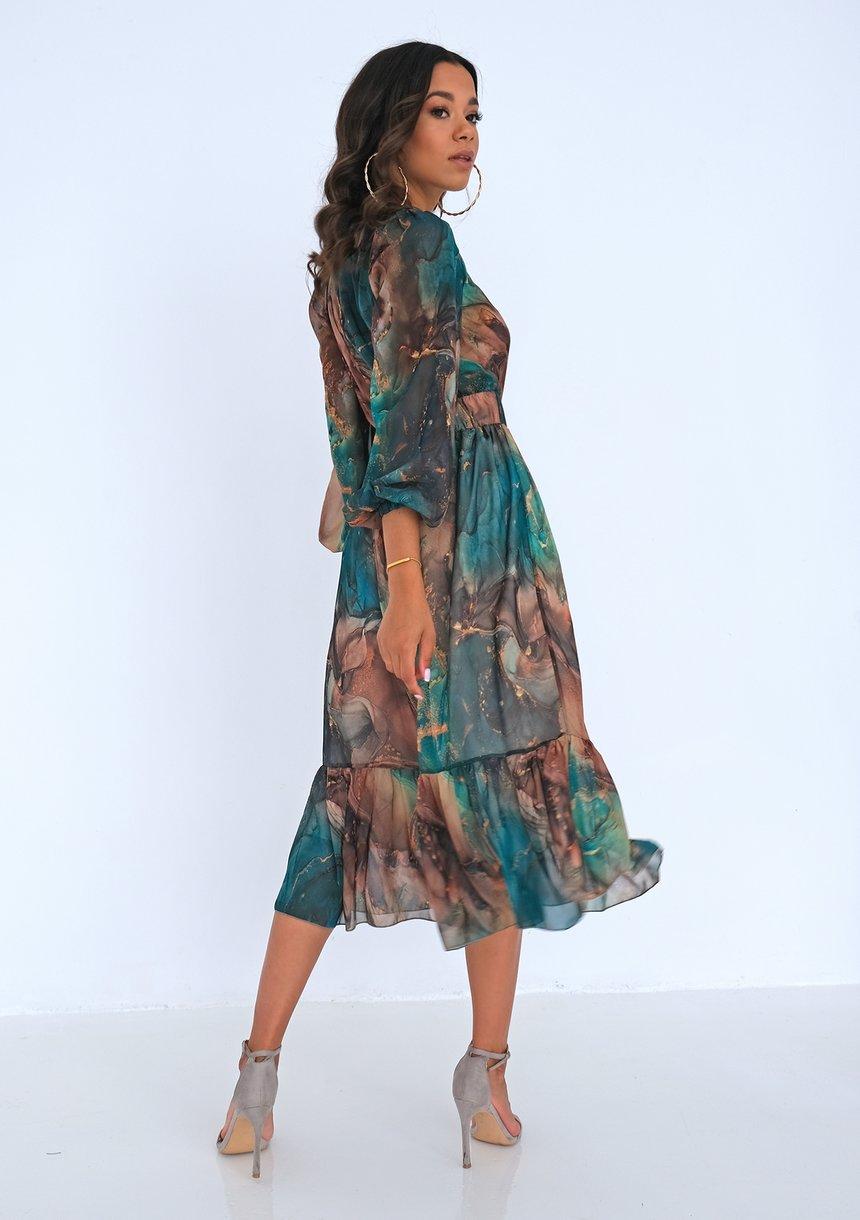 Sukienka midi z szyfonu Green Marble