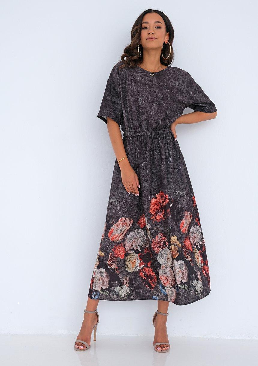 Sukienka midi Floral border Grafitowa