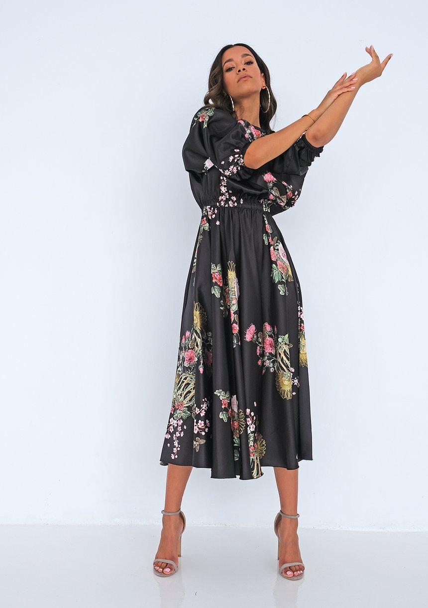 Satynowa sukienka midi Floral Czarna
