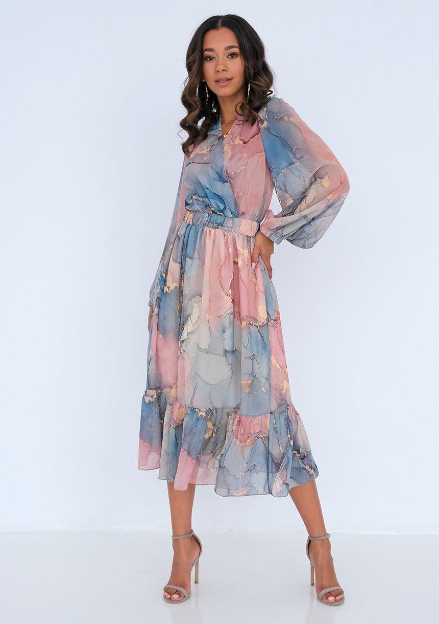 Sukienka midi z szyfonu Pink Marble