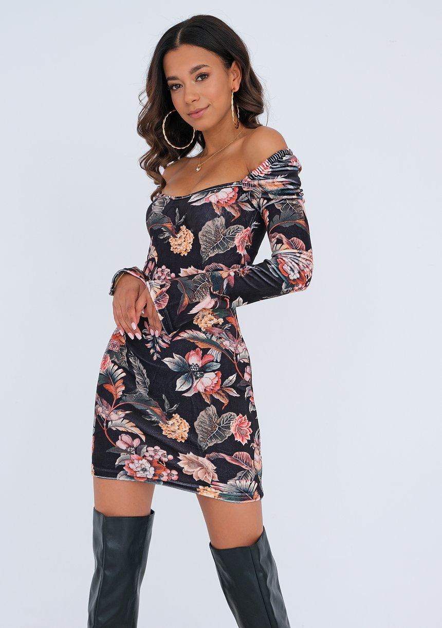 Sukienka mini Velvet Flowers