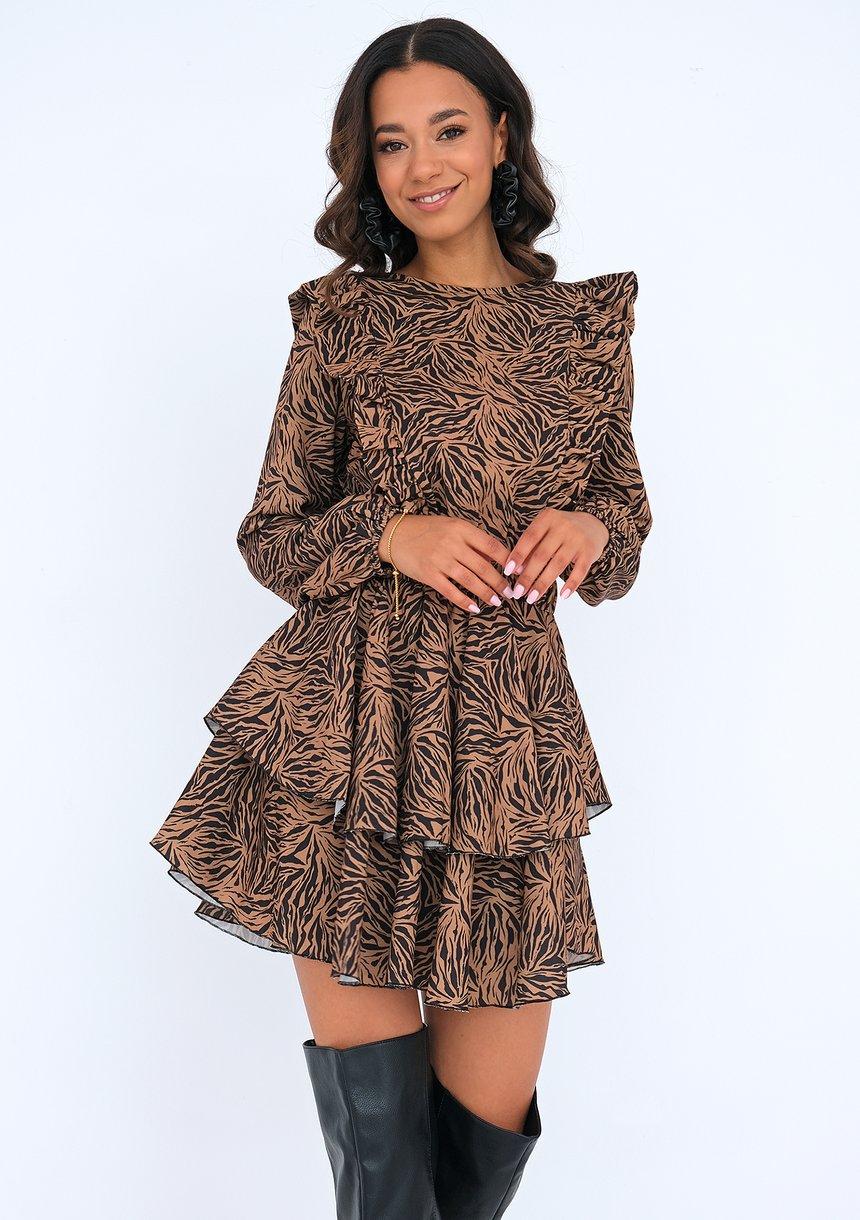 Sukienka z falbankami print Brązowa