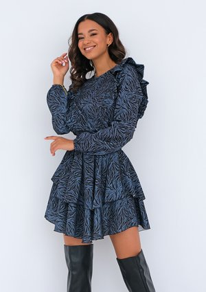 Blue printed dress with frills